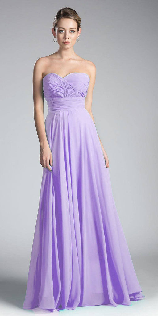 Cinderella Divine CJ216 Ruched Sweetheart Bridesmaid Dress Lilac Floral Accent Empire