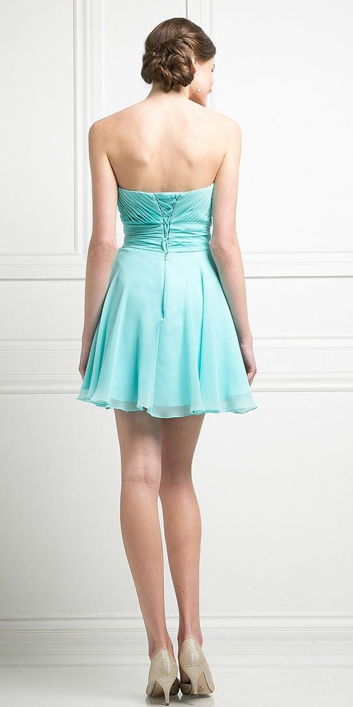 Cinderella Divine CJ216S Aqua Short Cocktail Dress Strapless Pleated Bodice Sweetheart Neckline Back View
