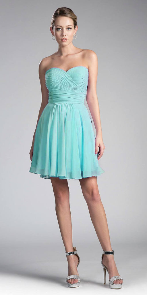Cinderella Divine CJ216S Aqua Short Cocktail Dress Strapless Pleated Bodice Sweetheart Neckline