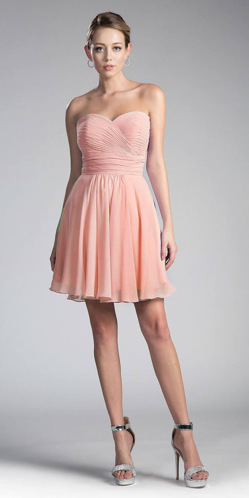 Cinderella Divine CJ216S Blush Short Cocktail Dress Strapless Pleated Bodice Sweetheart Neckline