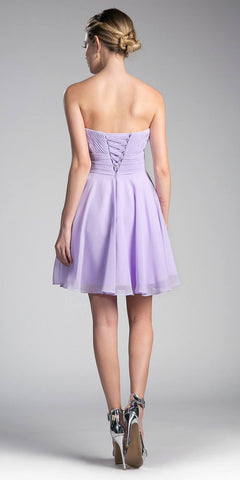 Cinderella Divine CJ216S Lilac Short Cocktail Dress Strapless Pleated Bodice Sweetheart Neckline Back View