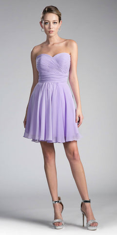 Cinderella Divine CJ216S Lilac Short Cocktail Dress Strapless Pleated Bodice Sweetheart Neckline