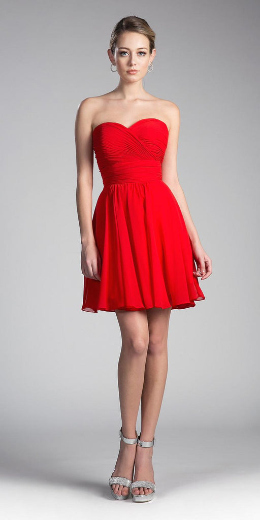 Cinderella Divine CJ216S Red Short Cocktail Dress Strapless Pleated Bodice Sweetheart Neckline