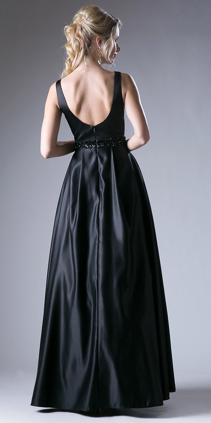 Black Beaded Waist V-Neck Prom Gown with Sheer Inset and Pockets