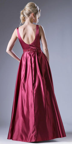 Burgundy Beaded Waist V-Neck Prom Gown with Sheer Inset and Pockets