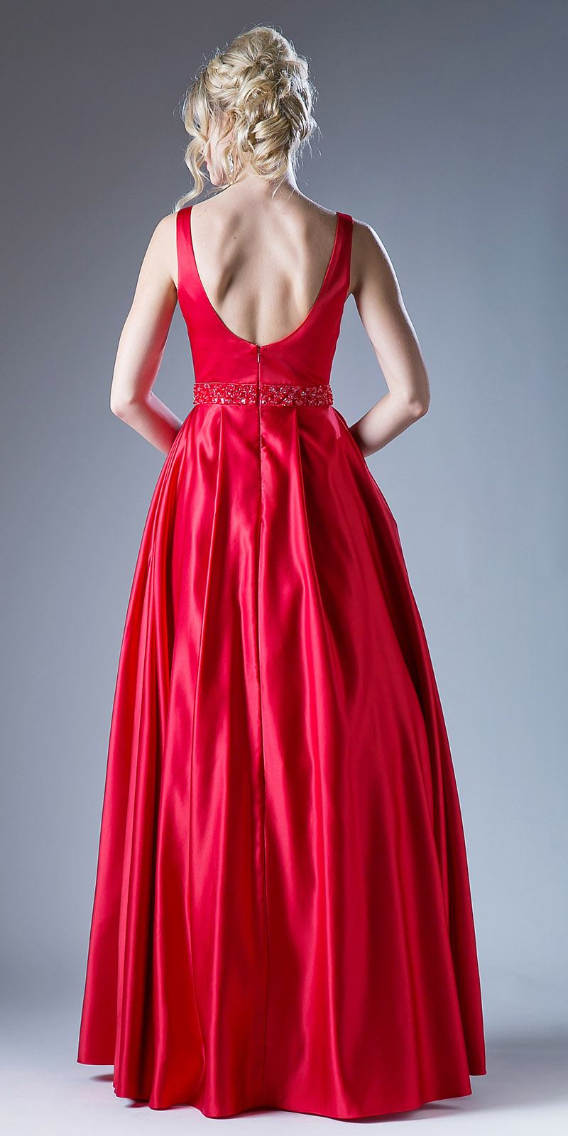 Red Beaded Waist V-Neck Prom Gown with Sheer Inset and Pockets