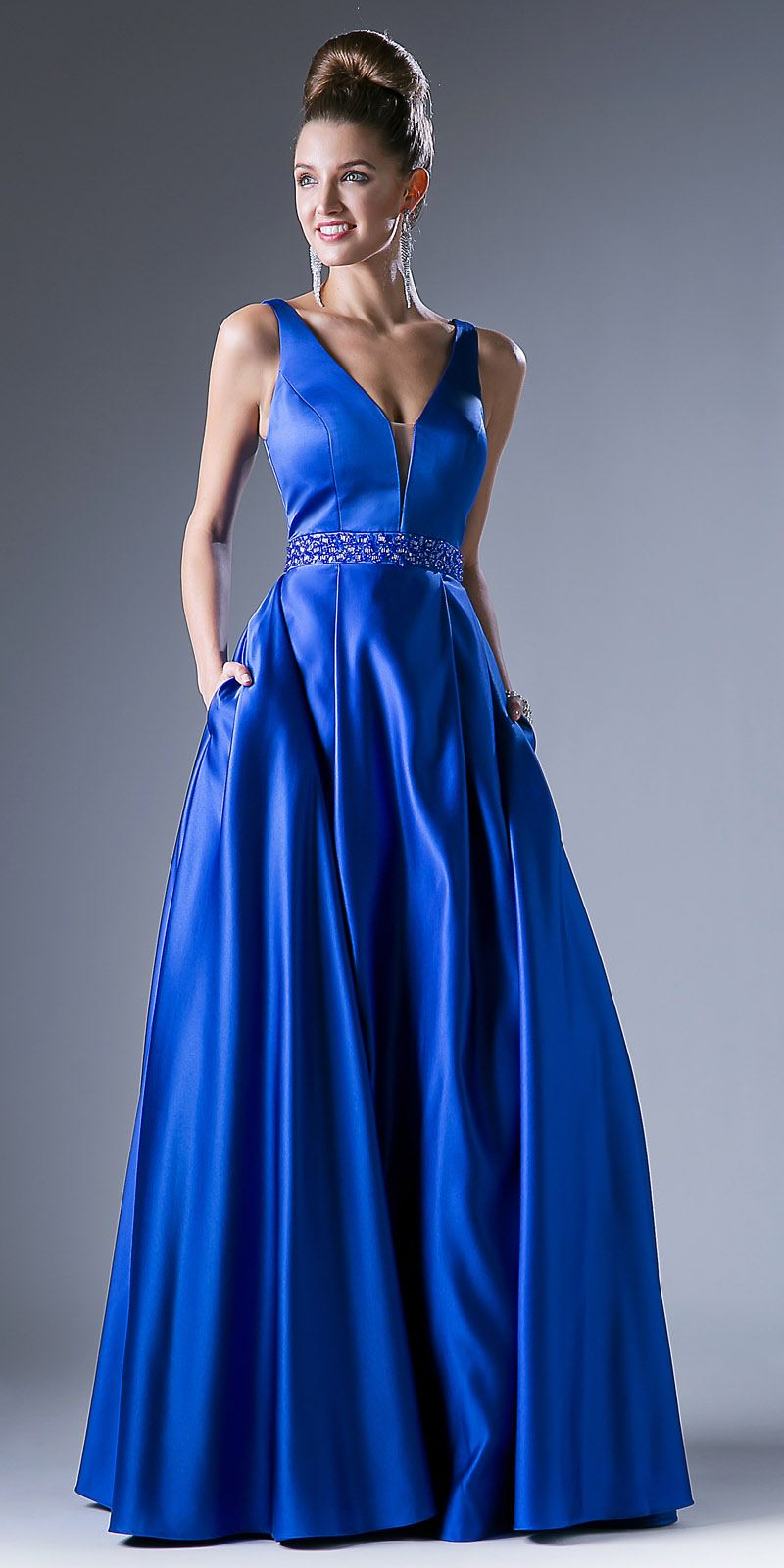Royal Blue Beaded Waist V-Neck Prom Gown with Sheer Inset and Pockets