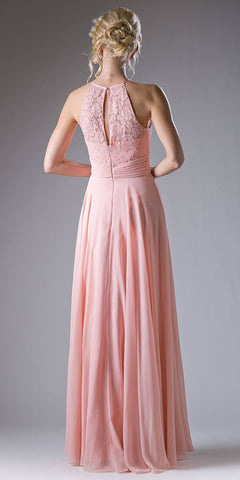 Cinderella Divine CJ228 Halter Lace Top Long Formal Dress Keyhole Neckline and Back Blush Back View