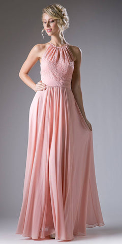 Cinderella Divine CJ228 Halter Lace Top Long Formal Dress Keyhole Neckline and Back Blush
