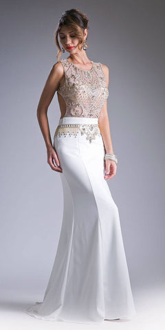 Cut-Out Back Long Prom Dress Illusion Beaded Top Cream