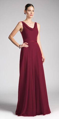 Burgundy Sleeveless Floor Length Formal Dress with Cowl Neck and Back