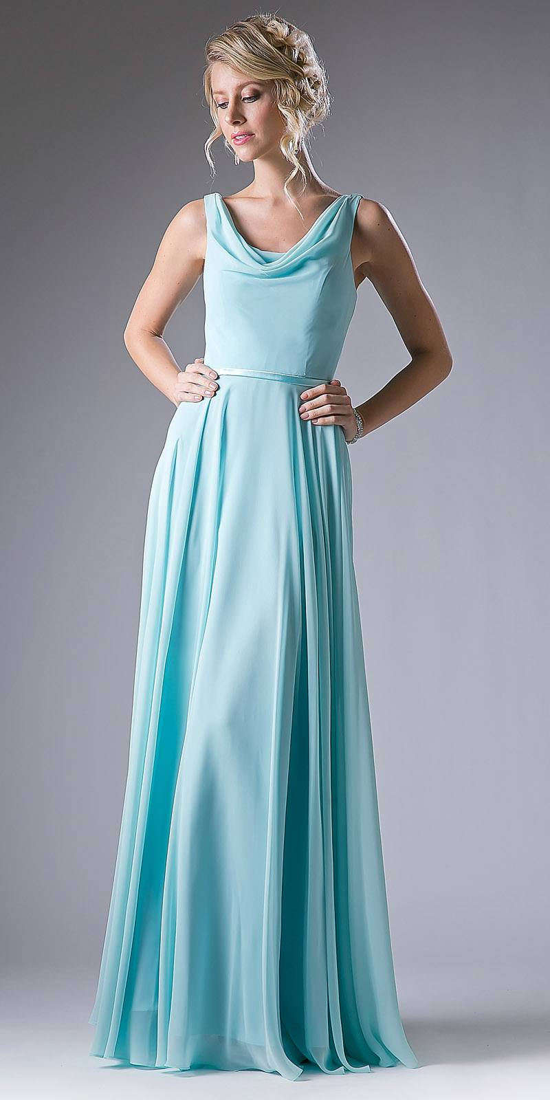 Mint Sleeveless Floor Length Formal Dress with Cowl Neck and Back