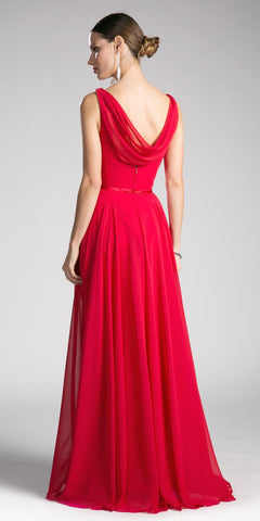 Red Sleeveless Floor Length Formal Dress with Cowl Neck and Back