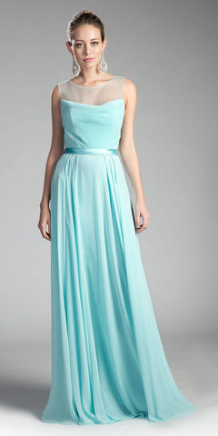 Short A Line Homecoming Dress Aqua Chiffon Illusion Neck