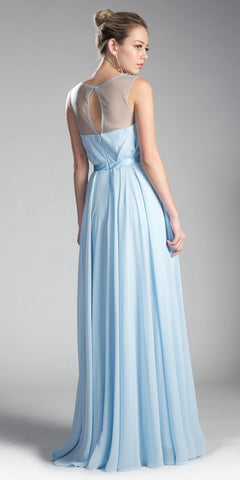 Cinderella Divine CJ236 Illusion Cowl Neckline A-Line Long Formal Dress Cut Out Back View Sky Blue