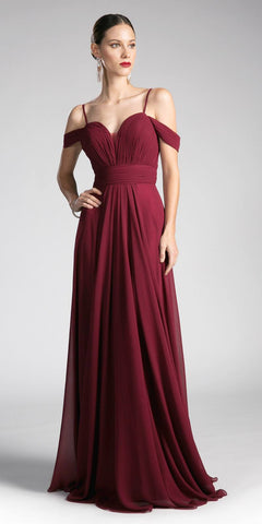 Cinderella Divine CJ241 Burgundy Sweetheart Neck Cold Shoulder Long Bridesmaids Dress