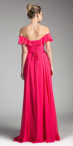 Cinderella Divine CJ246 Fuchsia Ruffled Off Shoulder Floor Length Prom Gown Lace Up Back View