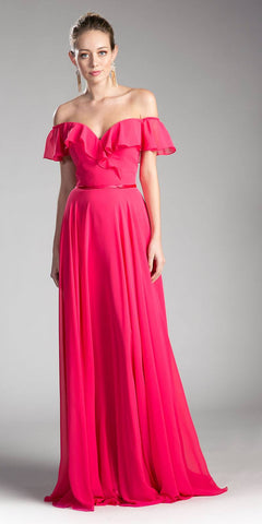 2ffc935c1f Cinderella Divine CJ246 Fuchsia Ruffled Off Shoulder Floor Length Prom Gown  Lace Up Back