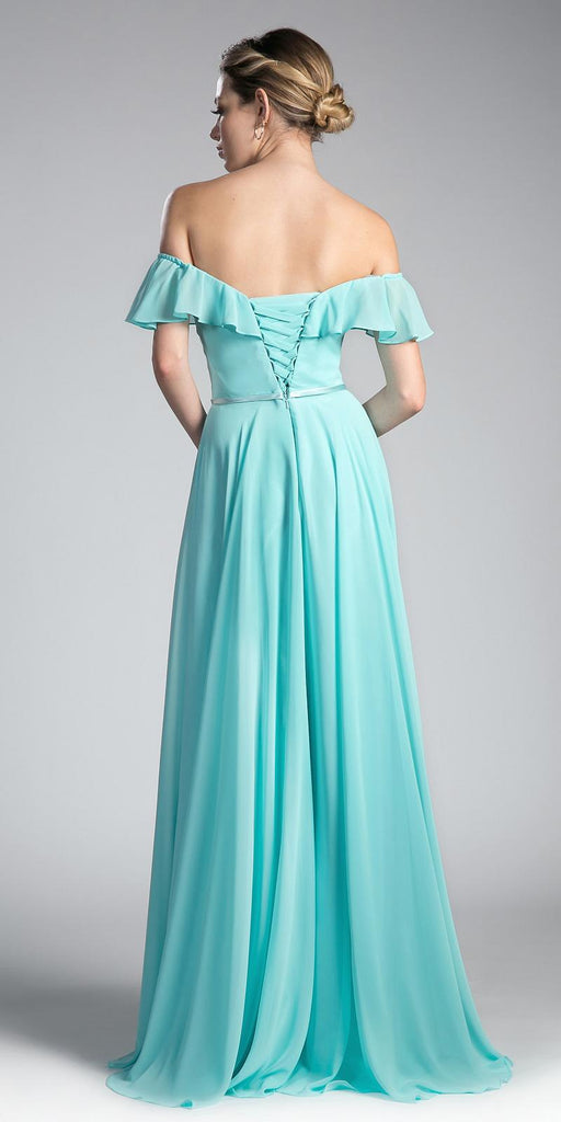 Cinderella Divine CJ246 Mint Ruffled Off Shoulder Floor Length Prom Gown Lace Up Back View