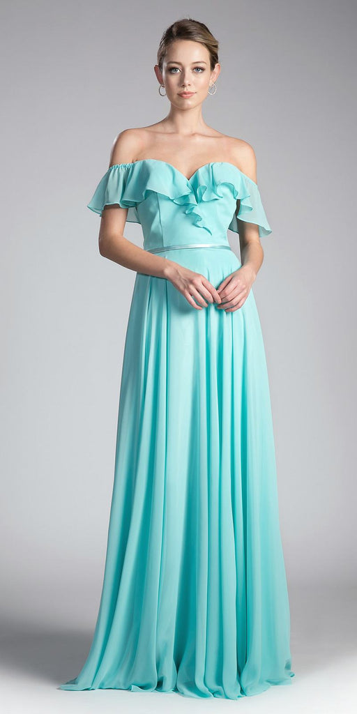 Cinderella Divine CJ246 Mint Ruffled Off Shoulder Floor Length Prom Gown Lace Up Back