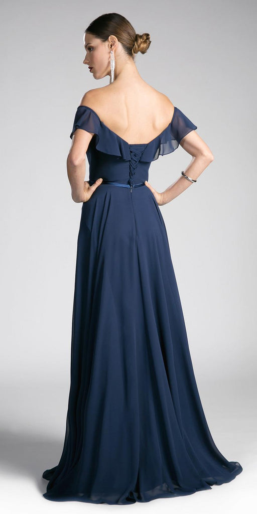 Cinderella Divine CJ246 Navy Ruffled Off Shoulder Floor Length Prom Gown Lace Up Back View