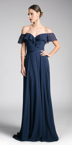 Cinderella Divine CJ246 Navy Ruffled Off Shoulder Floor Length Prom Gown Lace Up Back