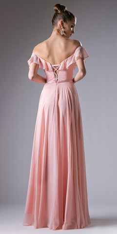 Cinderella Divine CJ246 Ruffled Off Shoulder Floor Length Prom Gown Lace Up Back Peach