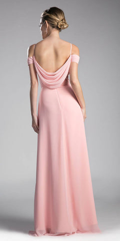 Cinderella Divine CJ248 Blush Long Prom Dress Cold Shoulder Beaded Waist Back View