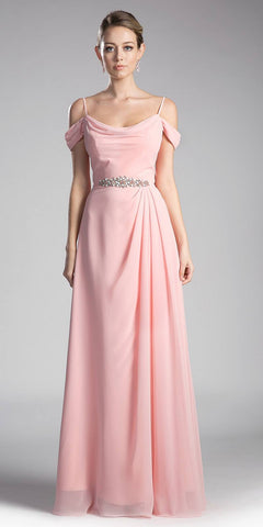 Cinderella Divine CJ248 Blush Long Prom Dress Cold Shoulder Beaded Waist