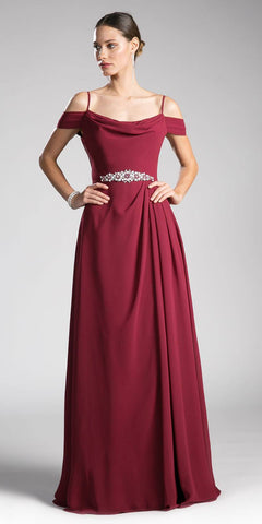 Cinderella Divine CJ248 Burgundy Long Prom Dress Cold Shoulder Beaded Waist