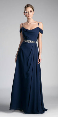 Navy Long Prom Dress Cold Shoulder Beaded Waist