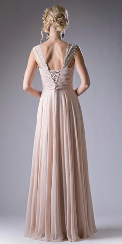Cinderella Divine CJ249 Champagne Long Formal Dress Lace Strap Pleated Bodice Lace Up Back