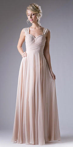 Champagne Long Formal Dress Lace Strap Pleated Bodice Lace Up Back