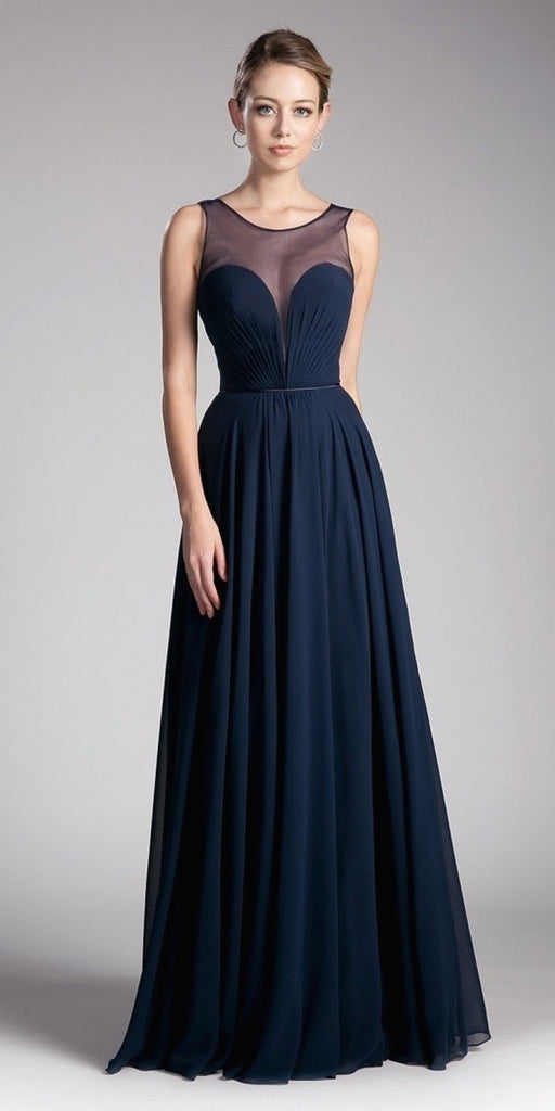 Cinderella Divine CJ251 Long A-Line Chiffon Dress Navy Blue Illusion Neckline And Open V-Back