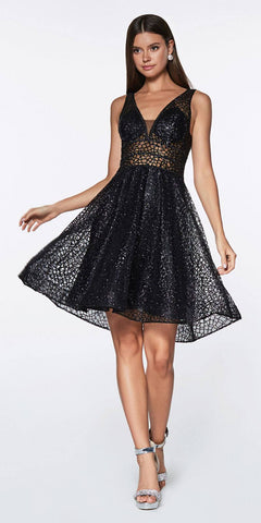 Cinderella Divine CJ256S Short Black A-line Homecoming Dress V-Neck and Back