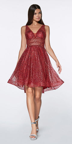 Cinderella Divine CJ256S Short Burgundy A-line Homecoming Dress V-Neck and Back