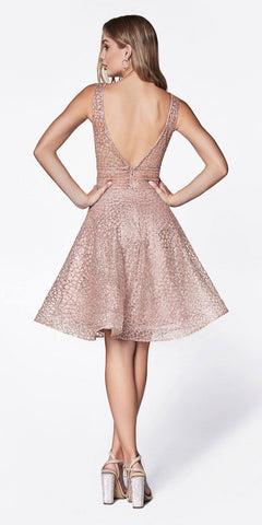 Cinderella Divine CJ256S Short Champagne/Gold A-line Homecoming Dress V-Neck and Back View