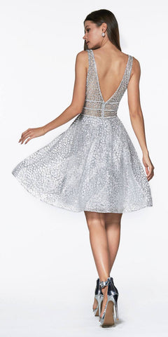 Cinderella Divine CJ256S Short Silver A-line Homecoming Dress V-Neck and Back View