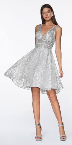 Cinderella Divine CJ256S Short Silver A-line Homecoming Dress V-Neck and Back