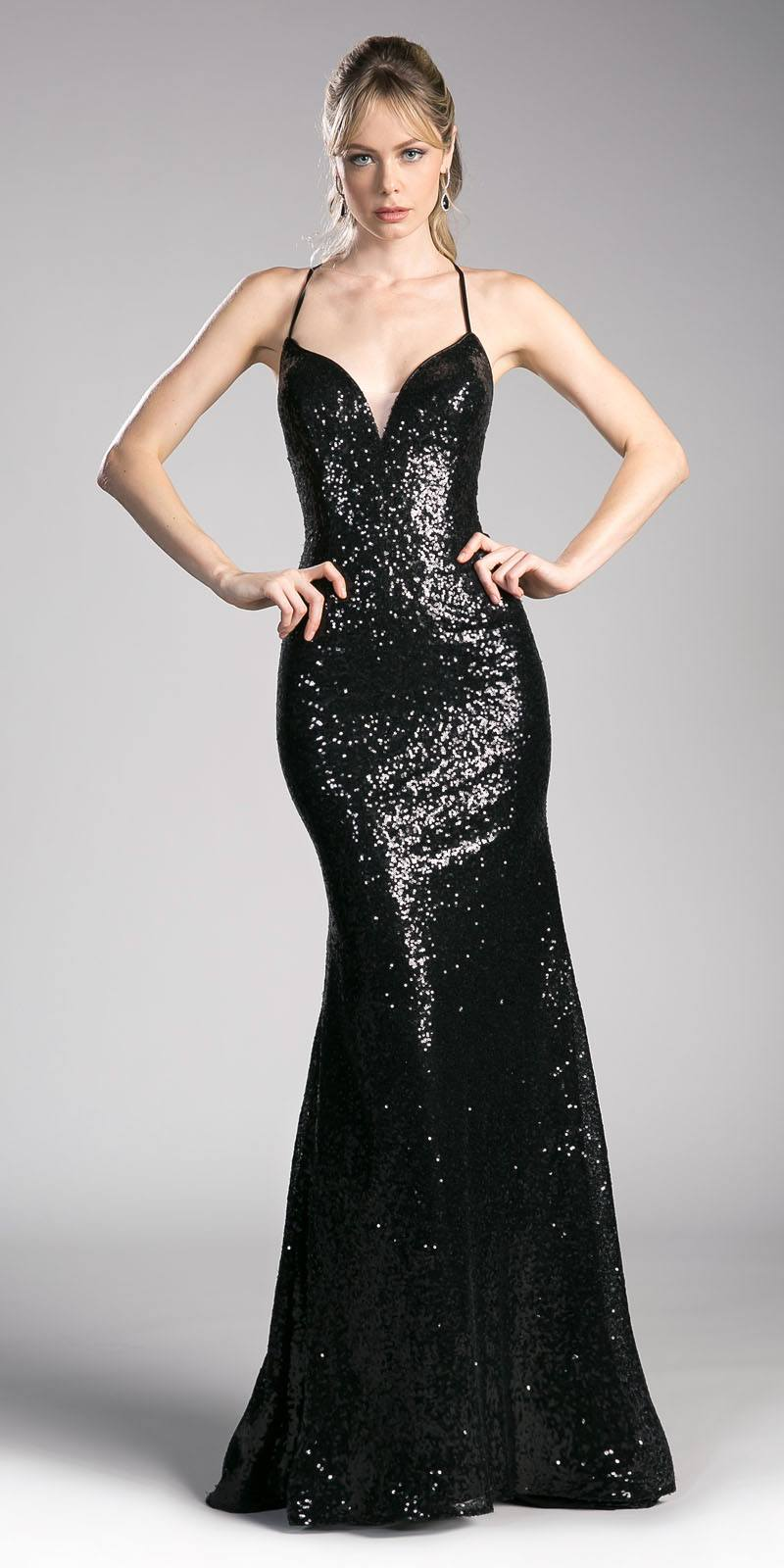 Cinderella Divine CJ264 Black V-Neck Sequins Mermaid Prom Gown ...