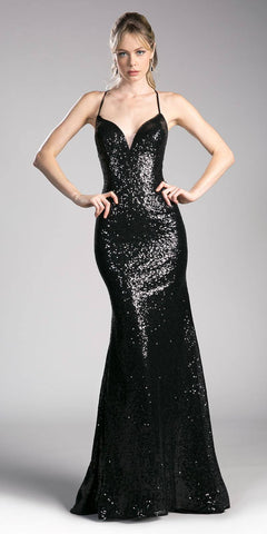 Black V-Neck Sequins Mermaid Prom Gown Strappy Back
