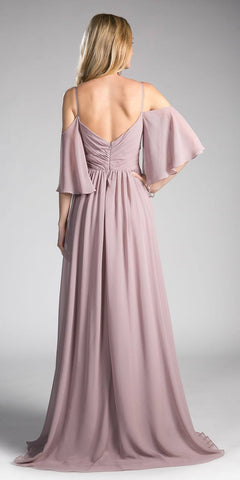 Mauve Cold Shoulder Long Formal Dress Ruched Bodice