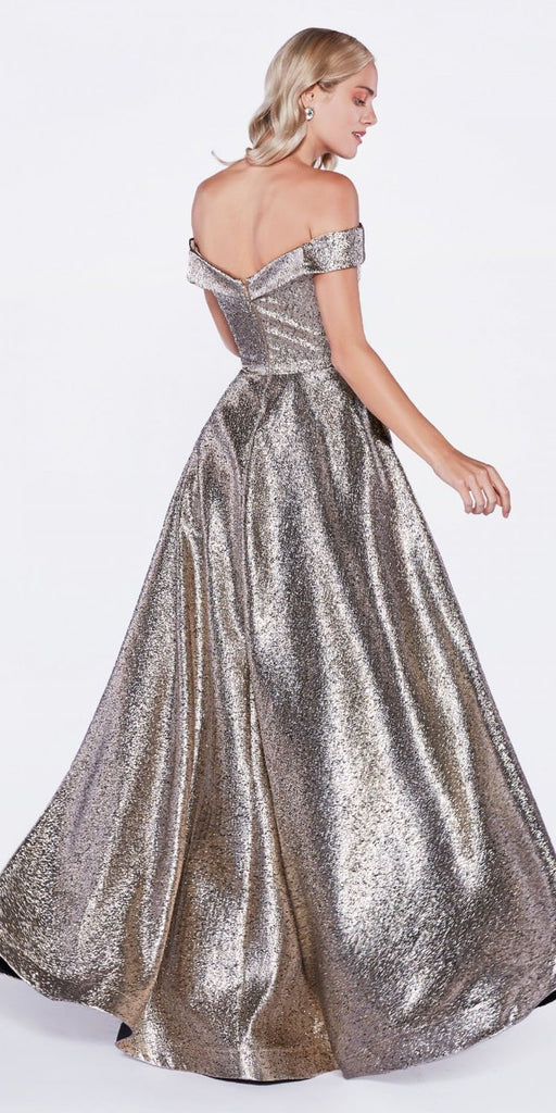Cinderella Divine CJ268 Off The Shoulder Ball Gown Bronze Sweetheart Neckline And Pockets