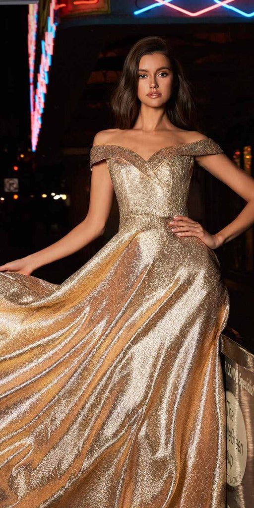 Cinderella Divine CJ268 Metallic Ball Gown Gold Off Shoulder Sweetheart Neckline Pockets