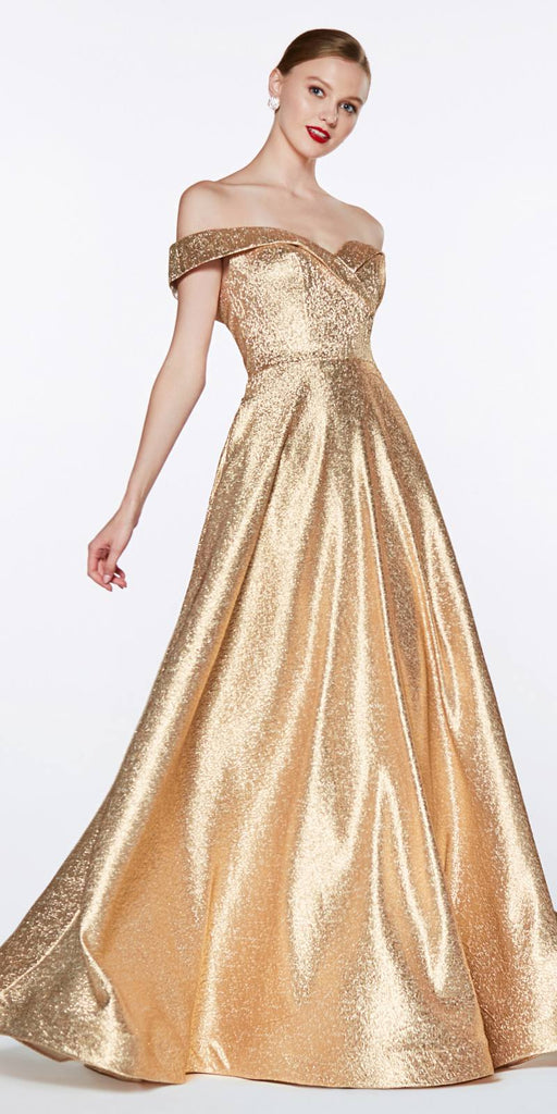 Cinderella Divine CJ268 Off The Shoulder Ball Gown Gold Sweetheart Neckline And Pockets