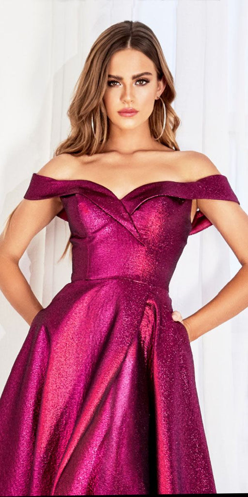 Cinderella Divine CJ268 Off The Shoulder Ball Gown Magenta Sweetheart Neckline And Pockets