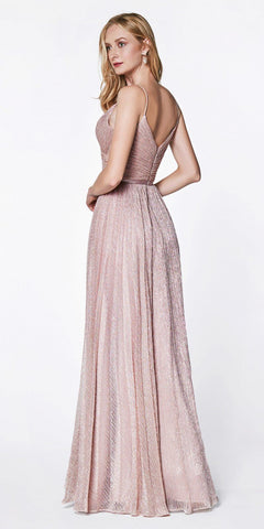 Cinderella Divine CJ269 Metallic Stretch Knit Flowy A-Line Dress Dusty Rose Pleated Details Satin Belt