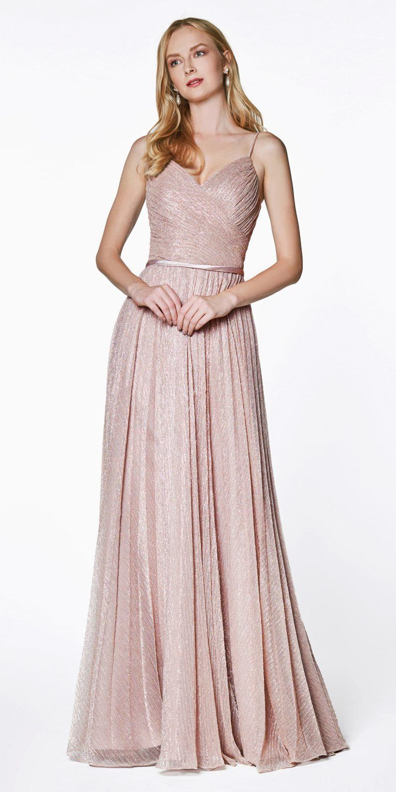 ecb8dcfe1b25 Cinderella Divine CJ269 Metallic Stretch Knit Flowy A-Line Dress Dusty Rose Pleated  Details Satin ...
