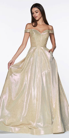 Cinderella Divine CJ270 Floor Length Off The Shoulder Ball Gown Metallic Glitter With Pockets