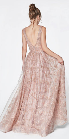 Glitter Print Ball Gown Rose Gold Deep Plunge Neckline And Illusion Sheer Sides